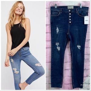 Free People Reagan Destroyed button front jeans 31